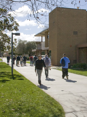 Students walking on campus in near the Academic Resource Center
