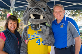 President with bulldog