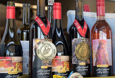 Wine bottles with awards